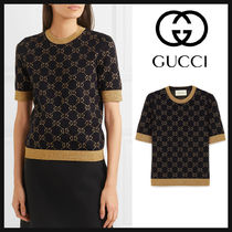 GUCCI Cable Knit Monogram Medium Short Sleeves Knitwear