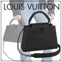 Louis Vuitton CAPUCINES Blended Fabrics 2WAY Chain Plain Leather Elegant Style