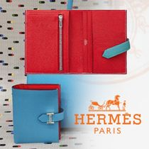 HERMES Bearn Unisex Calfskin Bi-color Plain Folding Wallets