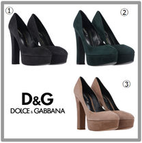 Dolce & Gabbana Round Toe Plain High Heel Pumps & Mules