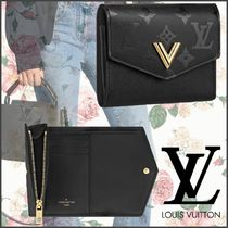 Louis Vuitton Monogram Calfskin Blended Fabrics Plain Folding Wallets