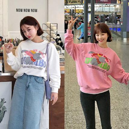 Crew Neck Street Style Collaboration Long Sleeves Plain
