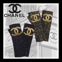 CHANEL Blended Fabrics Plain Leather Leather & Faux Leather Gloves