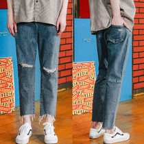 WV PROJECT Unisex Denim Street Style Plain Oversized Jeans & Denim