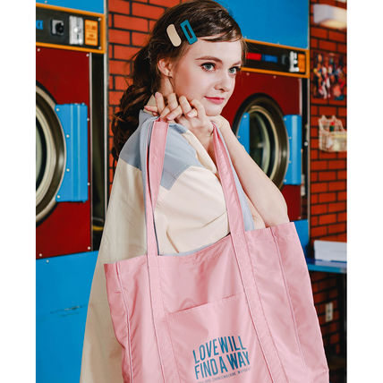 Casual Style Unisex Street Style A4 2WAY Plain Logo Totes