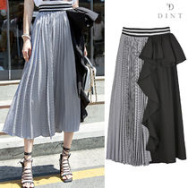 DINT Stripes Pleated Skirts Street Style Collaboration Plain Long
