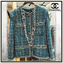 CHANEL Short Tweed Elegant Style Jackets