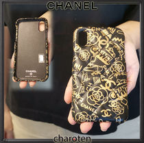 CHANEL MATELASSE Flower Patterns Unisex Leather Smart Phone Cases
