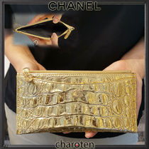 CHANEL ICON Unisex Calfskin Plain Other Animal Patterns