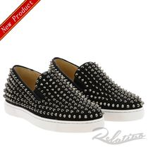 Christian Louboutin ROLLER BOAT Suede Studded Street Style Plain Sneakers