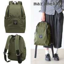 marimekko Casual Style A4 Plain Logo Backpacks