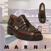 MARNI Moccasin Plain Leather Loafer & Moccasin Shoes