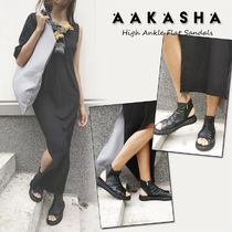 Aakasha Open Toe Rubber Sole Casual Style Plain Leather Handmade