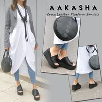 Aakasha Open Toe Platform Casual Style Other Animal Patterns Leather