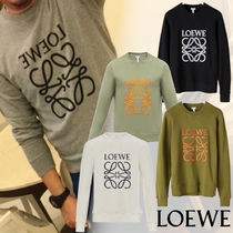 LOEWE Crew Neck Pullovers Unisex Long Sleeves Cotton Sweatshirts
