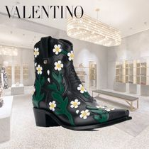 VALENTINO Flower Patterns Cowboy Boots Casual Style Blended Fabrics