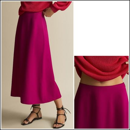 Plain Medium Midi Elegant Style Midi Skirts