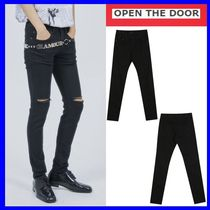 OPEN THE DOOR Street Style Plain Skinny Fit Pants