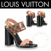 Louis Vuitton DAMIER Other Check Patterns Open Toe Blended Fabrics Leather