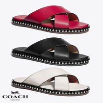 Coach Open Toe Rubber Sole Casual Style Studded Plain Leather Logo