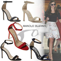 Manolo Blahnik Open Toe Suede Plain Pin Heels Elegant Style Heeled Sandals