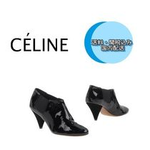 CELINE Round Toe Plain Leather High Heel Boots