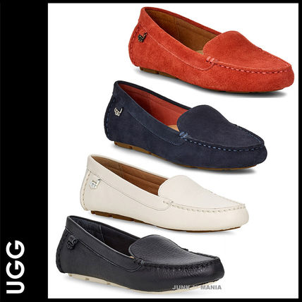 Casual Style Plain Leather Loafer Pumps & Mules