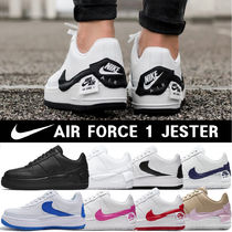 Nike AIR FORCE 1 Platform Round Toe Casual Style Unisex Blended Fabrics
