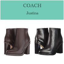 Coach Plain Leather Block Heels High Heel Boots