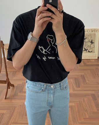 ASCLO More T-Shirts Street Style Cotton Short Sleeves Oversized T-Shirts 7