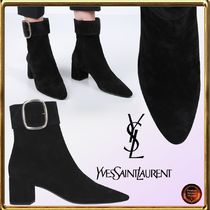 Saint Laurent Casual Style Suede Plain Chunky Heels Ankle & Booties Boots