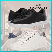 Coach Round Toe Leather Low-Top Sneakers