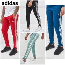 adidas Stripes Unisex Street Style Plain Cotton