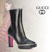 GUCCI Square Toe Platform Plain Leather With Jewels