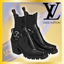 Louis Vuitton Unisex Leather Block Heels Ankle & Booties Boots