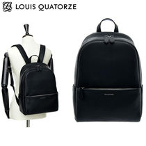 Louis Quatorze Studded Street Style A4 Plain Leather Office Style Backpacks