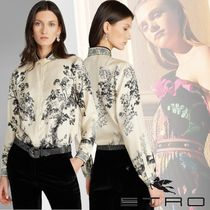 ETRO Flower Patterns Paisley Silk Long Sleeves Medium