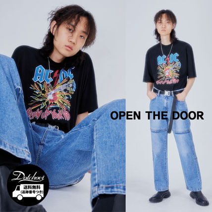 OPEN THE DOOR Crew Neck Crew Neck Street Style Plain Cotton Short Sleeves