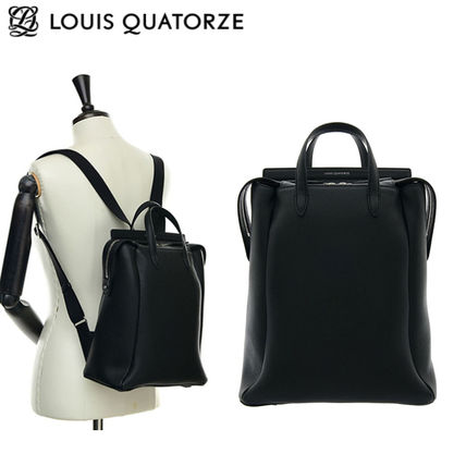 Casual Style Studded Street Style A4 Plain Leather Backpacks