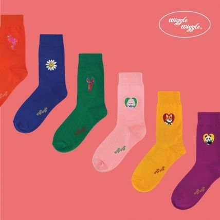 Unisex Street Style Plain Cotton Logo Socks & Tights