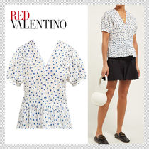 RED VALENTINO Dots Puffed Sleeves Cotton Shirts & Blouses