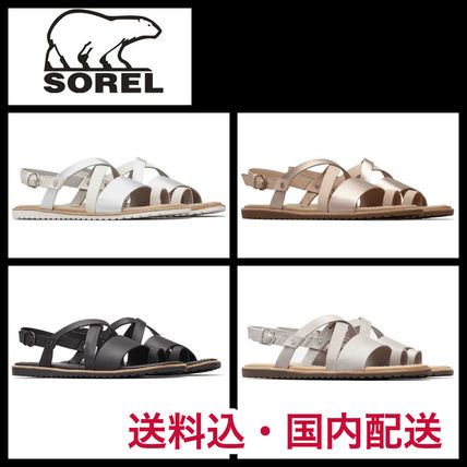 Casual Style Blended Fabrics Plain Leather Sandals