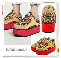 Buffalo LONDON Leopard Patterns Platform Casual Style Street Style Leather