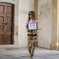 VERSACE Short Street Style Cotton Cropped