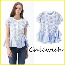 Chicwish Stripes Flower Patterns Blended Fabrics Medium Short Sleeves