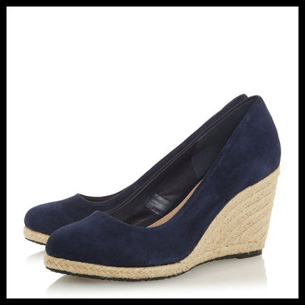 Dune LONDON Round Toe Casual Style Suede Plain Wedge Pumps & Mules