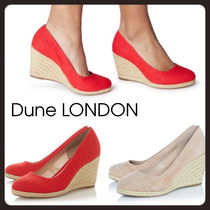 Dune LONDON Round Toe Suede Plain Wedge Pumps & Mules