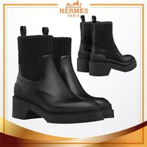 HERMES Blended Fabrics Leather Elegant Style Ankle & Booties Boots