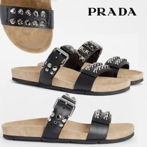 PRADA Open Toe Casual Style Unisex Studded Leather Sandals