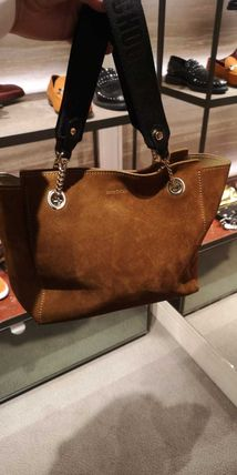 Casual Style Suede A4 2WAY Plain Leather Office Style Totes
